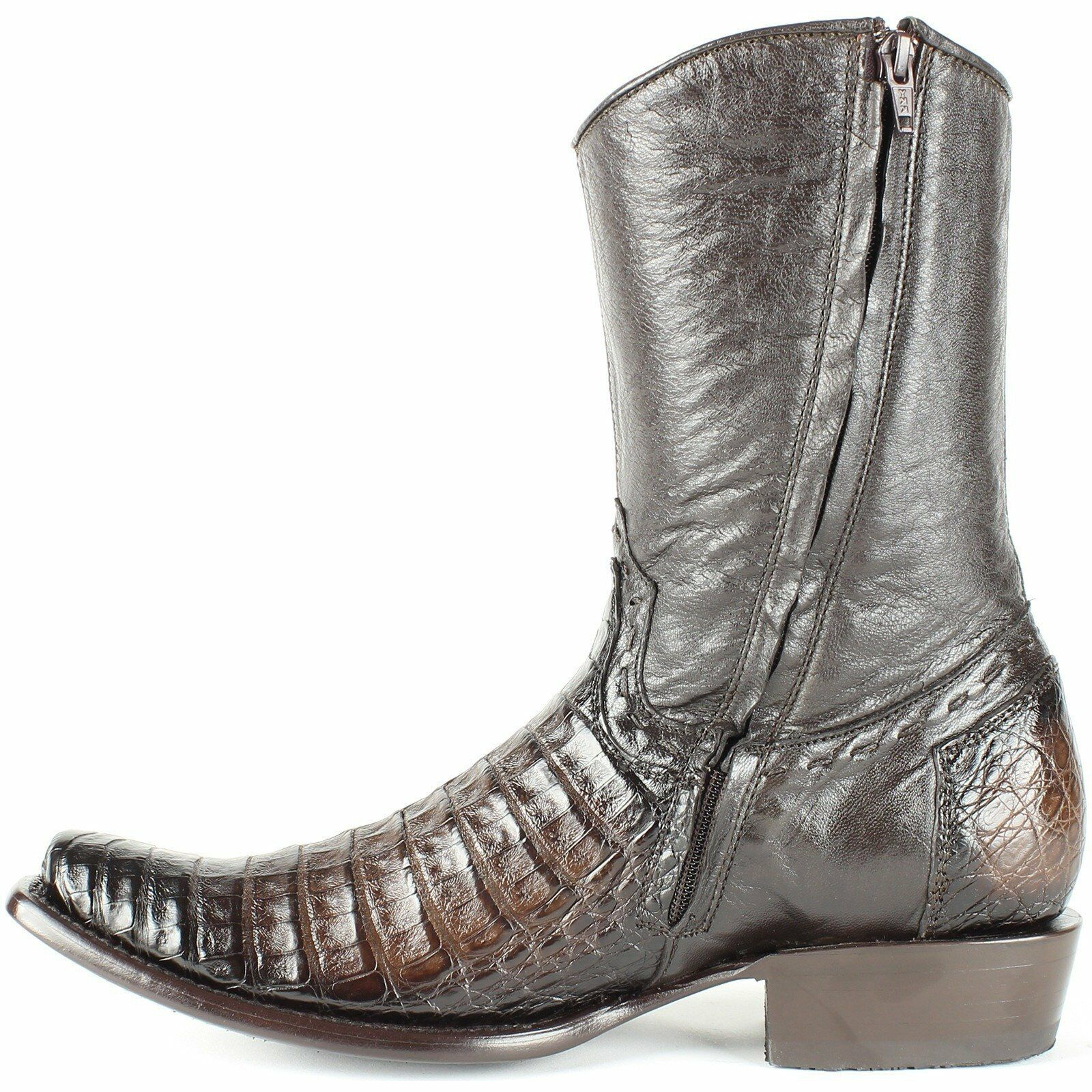 King Exotic Brown Caiman Cocodile Belly Belly Cocodile Western Boot Side Zipper Mid Calf D ecf9c4