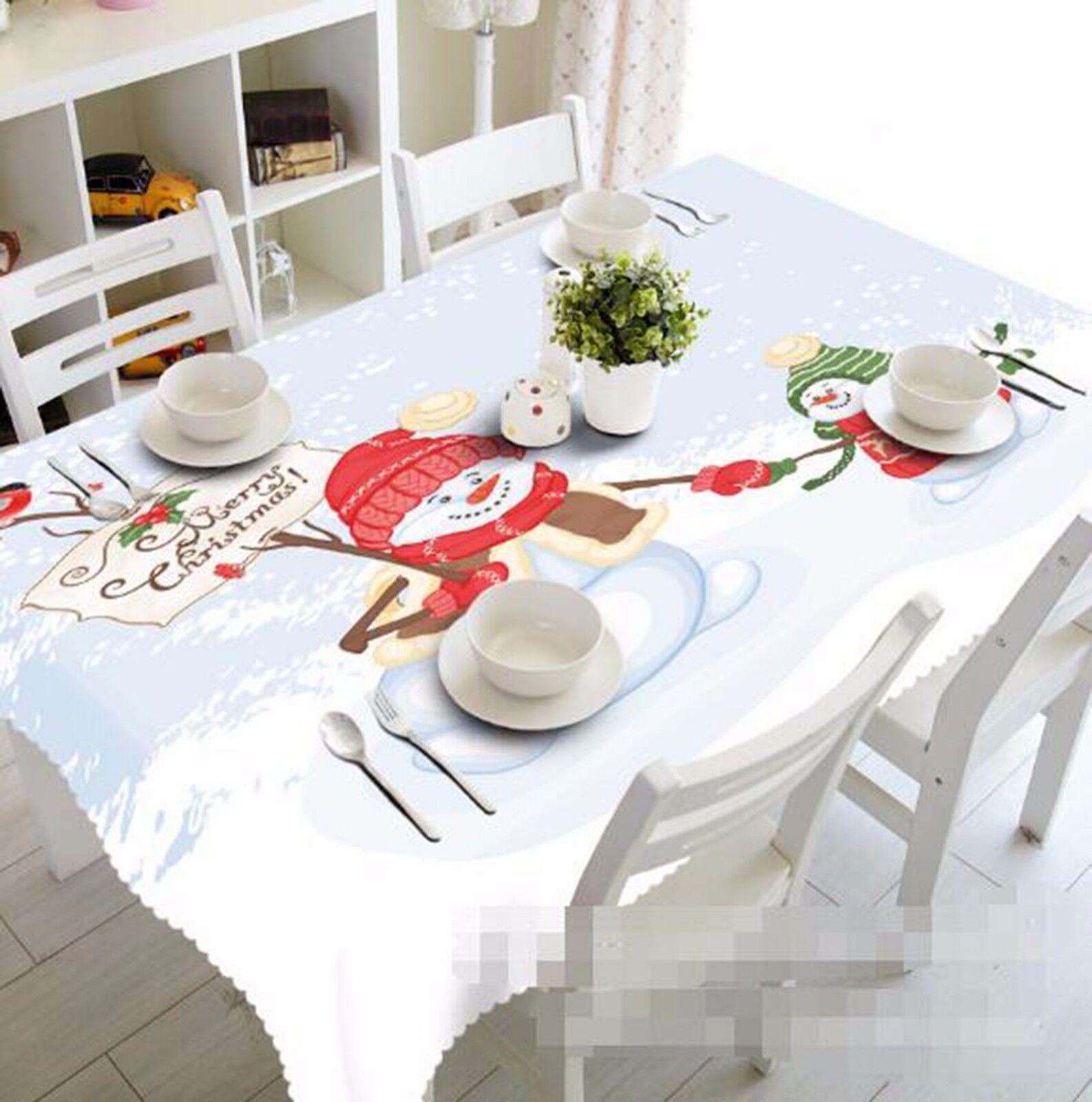 3D Bonhomme de neige 41 Nappe Table Cover Cloth fête d'anniversaire AJ papier peint Royaume-Uni Citron