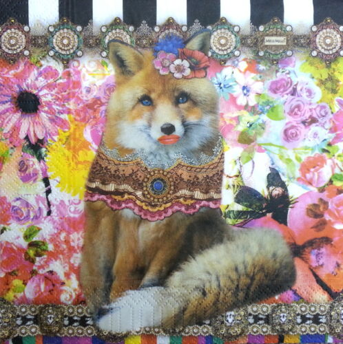 4 Vintage Paper Napkins for Party Lunch Decoupage Decopatch Colorful Fox