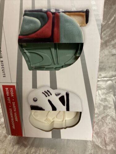 Star Wars Cookie Cutters Set Of 4 Williams Sonoma New Darth Vader Yoda Bobba Fet