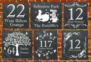 Rustic-welsh-Personalised-Slate-Door-Gate-Plaque-number-name-plate-Sign