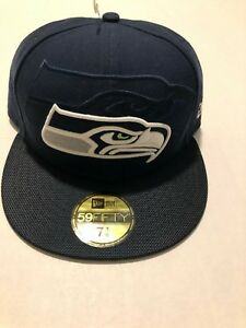 761b6aea Details about SEATTLE SEAHAWKS NEW ERA 59FIFTY ON FIELD SIDELINE Navy  FITTED HAT SIZE 7 3/8