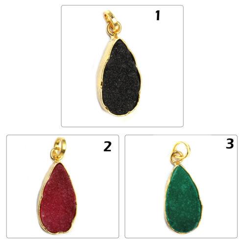 Élégant Poire Noir Rouge Vert Naturel Agate Druzy Plaqué Or Fashion Pendentif