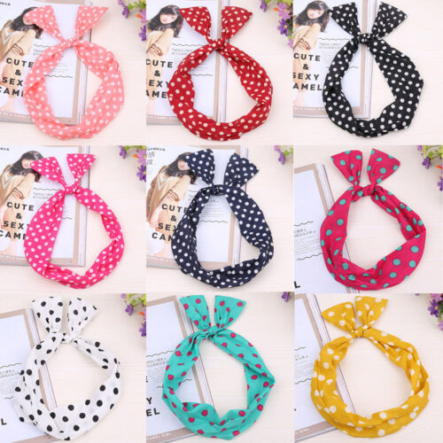 Girls Cute Fashion Dot Rabbit Bow Ear Elastic Headwrap Turban Hair Band Headband