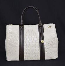 NWT Brahmin Lincoln Leather Satchel/Shoulder Bag. Coquette Vermeer Cream & Brown