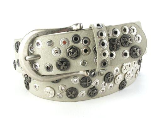 Designer Nietengürtel Gürtel Strassgürtel Glitzer Damengürtel grau GR11D