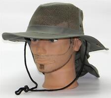 Men Summer Safari Outback Mesh Summer Hat W/Neck Flap #981 Olive Small