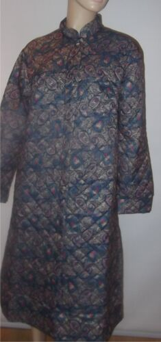 Quilted Button Front Dressing Gown Paisley Print Sizes 12-30