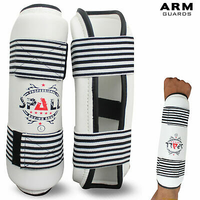 Boxing Kickboxing MMA Elbow Forearm Protector Cuff Pad Guard White Pair
