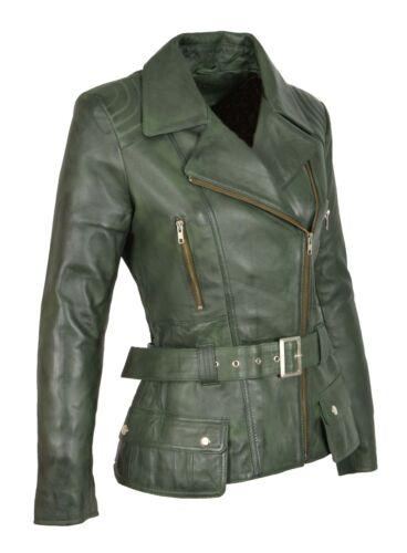 donna pelle Giacca da motociclista verde vestibilit da in CBeQWrdxo