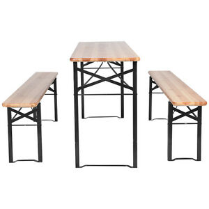 Deals 3 Pcs Beer Table Bench Set Folding Wooden Top Picnic