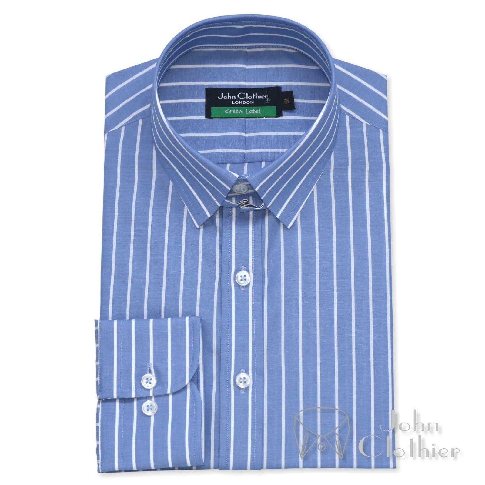New  Herren Tab collar Cotton shirt Blau Weiß stripes Loop James Bond collar Gents