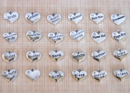 10 x silver Wedding hearts with diamantes charm pendant bride groom engagement