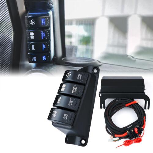 A-Pillar 4 Rocker Switch Panel w// Control Box for 2007-2018 Jeep Wrangler JK JKU