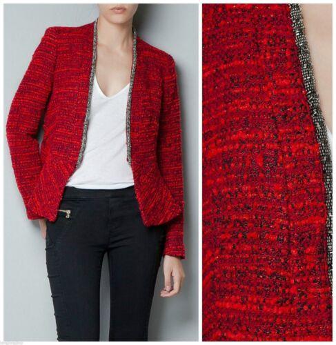 Blazer M Svært Medium Zara Boucle Fantasy Metal sjeldent Jacket Red Frakk EAvwWCqv