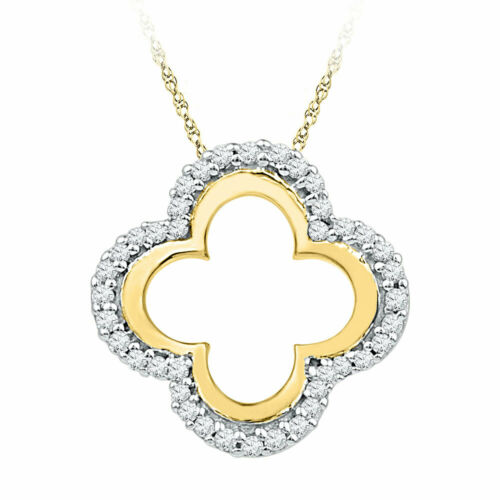 10k Or Jaune pour Femme Ronde Diamant quadrilobes Découpe Pendentif 1//8 cttw