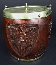 Carved Wood Biscuit Barrel Jar Brass Lid Ceramic Liner Tobacco Smoke Stash
