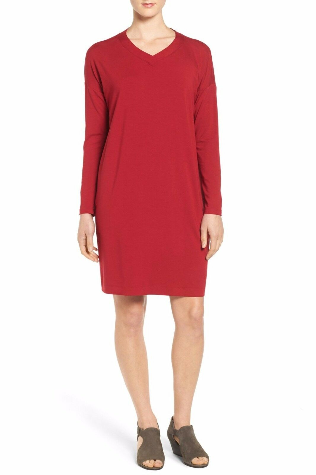 NEW Eileen Fisher Sz M M V-Neck Stretch Shift Dress Jersey Boxy Medium  178
