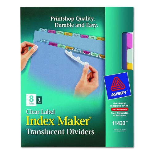 Avery Index Maker Print /& Apply Clear Label Plastic Dividers 8-Tab Letter 11433