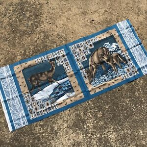 NATIVE-AMERICAN-DEER-Winter-Blue-Beautiful-Quilting-Panel-Sewing-Fabric-Panel
