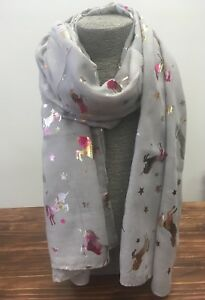 Silver-Grey-Rainbow-Unicorn-Ladies-Scarf-Unicorns-Shiny-Metallic-Foil-NEW