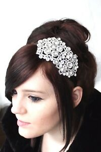 Image is loading Bridal-Bridesmaid-Prom-Clear-Diamante-Crystal-Silver-Side- 88d6cc6f6be