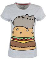 Pusheen Burger Heather Rolled Sleeve Women's Grey T-shirt