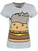 Pusheen Burger Heather Rolled Sleeve Women's Grey T-shirt