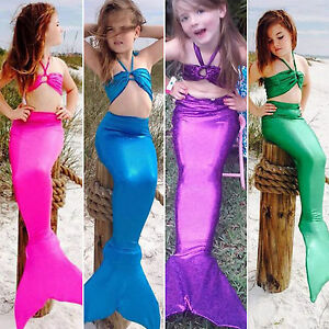 Girls Mermaid Tail Swimmable Bikini Set Swimwear Swimsuit Swimming Costume