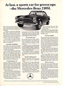 1967 Mercedes Benz 230SL 250SL Classic Vintage Advertisement Ad LV3