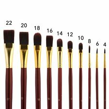 Long Handle Paint Brush Set 10 Professional Artist Grade Acrylic & Oil Brushes -
