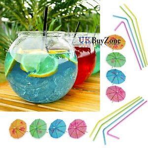 Set-de-2-PLASTIQUE-Cocktail-Bocal-a-Poissons-Buvable-Pots-Flexi-Pailles-amp