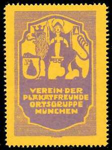 Germany Poster Stamp - Verein der Plakatfreunde - Yellow - Emil Pirchan