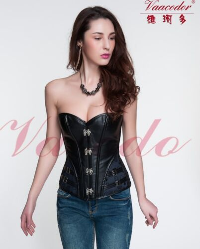 Vacodo Black Denim Faux Leather Lace Up Overbust Steel Boned Biker Girl Corset