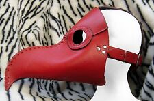 Real Leather Plague Doctor RED Mask Exclusive Gothic Steampunk Retro Rock