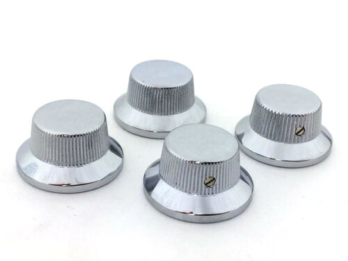 (4) Schaller Chrome/Brass Bell Knobs for USA Gibson® Guitar/Bass 6mm Shaft Pots