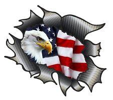CLASSIC Ripped Open Carbon Fibre Rip & American Eagle & US USA Flag car sticker