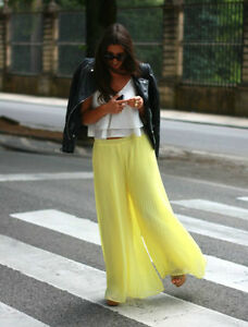 7e9a2d7b68 Details about ZARA YELLOW WIDE PLEATED PALAZZO TROUSERS PANTS SIZE M  (MEDIUM) NEW TAGS