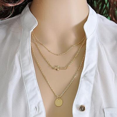 cross God Fatima Hand Evil Eye Pearl Pendant 3 Layer Chain Simple Necklace