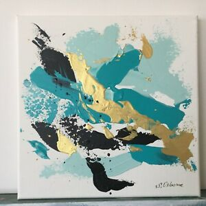 Abstract-Blue-Gold-Black-Original-Painting-Acrylic-Art-on-canvas-10-x10-x0-8