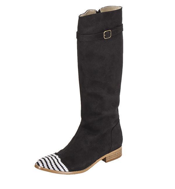 Olsenhaus Pure Vegan la rodilla botas altas Negro y 10