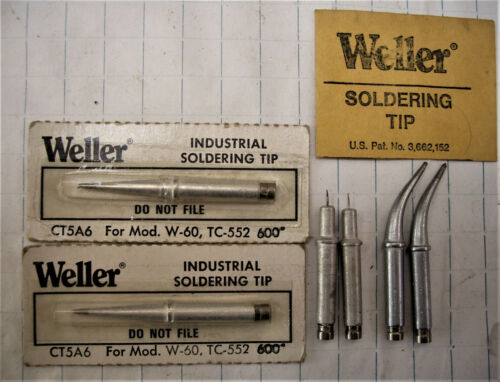 6 New Old Stock Weller Soldering Tips CT5AX CT5A6 DSA400 USA