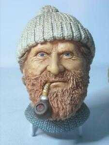 Bossons-Pipe-Smoking-FISHERMAN-Two-Original-Labels-6Photos-Chalkware-Head-Plaque