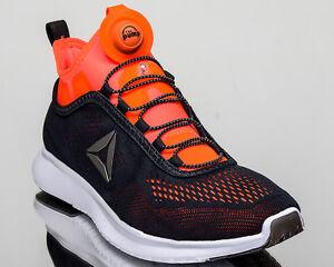 60b0a654d1f3d1 Reebok Pump Plus Tech men run running shoes NEW black lead orange ...