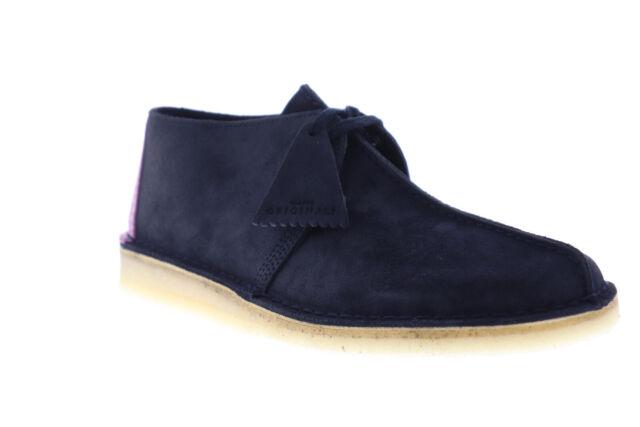 Clarks Desert Trek Mens Blue Suede Casual Lace Up Oxfords Shoes