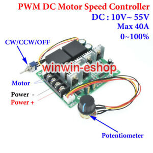 40A DC 10-55V 12V 24V 48V PWM DC Motor Speed Controller CW CCW Reversible Switch