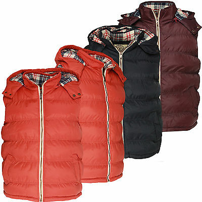 Mens Gilet Soulstar Casual Padded Hooded Tartan Vest Bodywarmer Waistcoat New