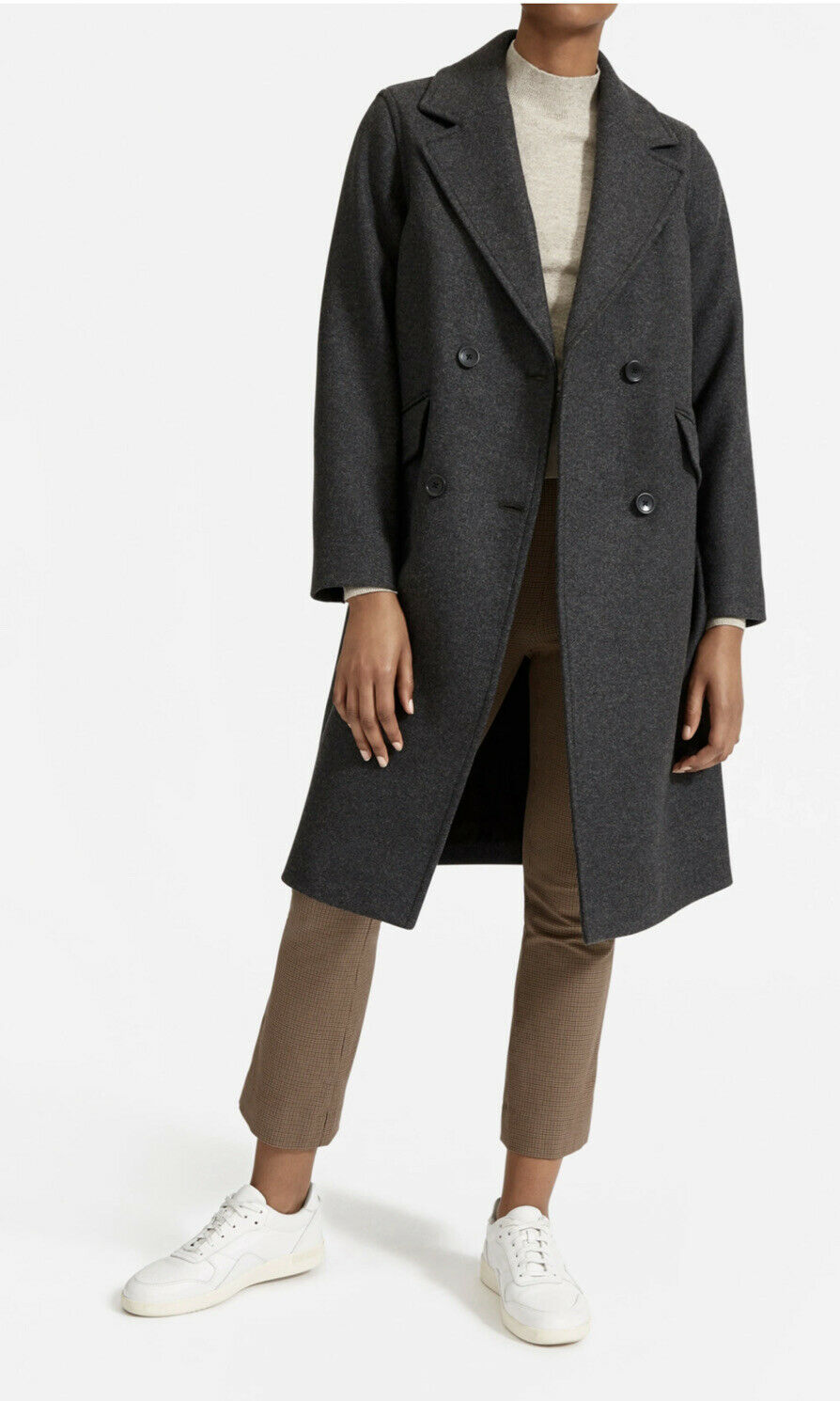 NWT Everlane The Italian ReWool Overcoat Womens size 2 DK Charcoal Recycled Wool