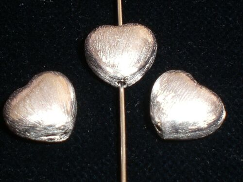 3 Spacer Coeur 12 mm Argenté Brossé Métal Perles Perles