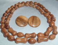VINTAGE WOODEN BEAD COPPER LINK ROPE NECKLACE CLIP EARRINGS SET IN GIFT BOX